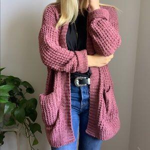 Express mauve cardigan sweater s small